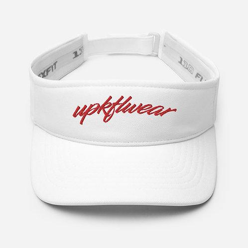 UPKFLWEAR VISOR: WHITE AND RED