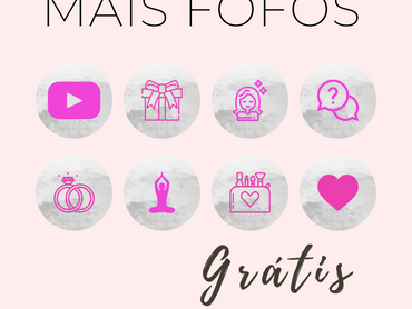 """Capas Para Destaques do Instagram Grátis - Tema """"Blogueirinha - Rosa com fundo prata texturizado"""""""
