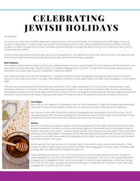Celebrating Jewish Holidays