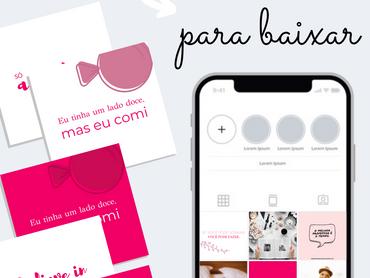 Combo: 21 Templates Para o Feed do Instagram Grátis Para Download - Tema Pink e Branco