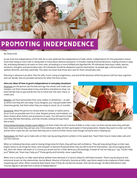 Celebrate Independence of Older Adults