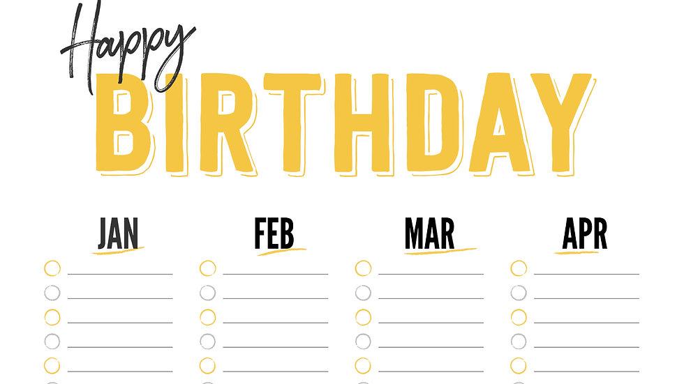 Team's Birthday Calendar