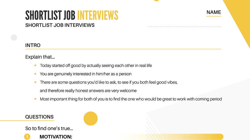 Worksheet - Checklist Job Interviews