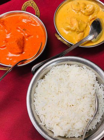 Chicken Tikka Masala (left), Shrimp Korma (right). & basmati rice