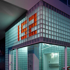 obeco glass blocks, etched glass blocks, coloured glass blocks, corner glass blocks, glass block installation, glass bricks