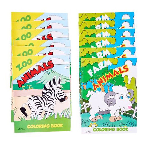 20pcs Mini Fun Colouring Books - Animals