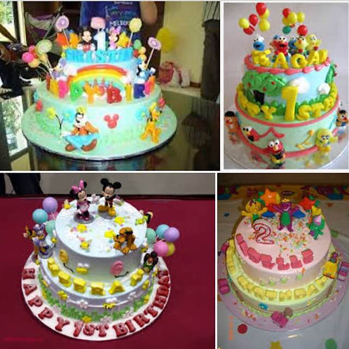 2 tier Customized Birthday Cake - Non Halal