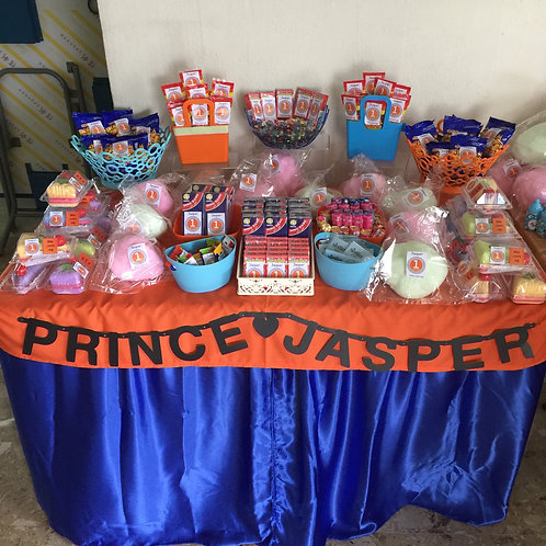 Candy Buffet Setup - Theme Orange & Blue