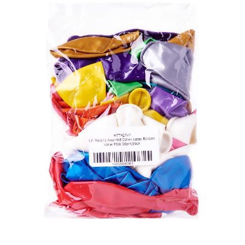 50pcs Balloons - Assorted Colours - 11inch Metallic