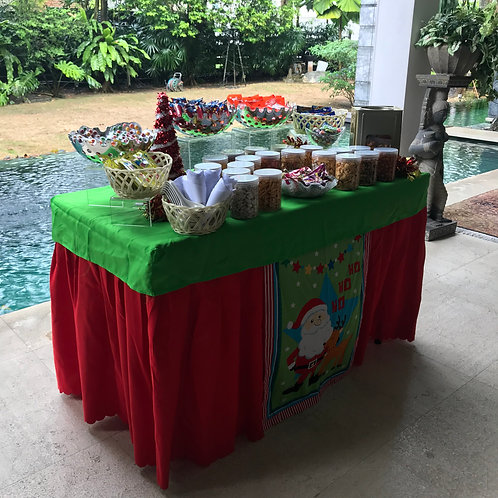 Kachang Putih & Candy Buffet Setup - Christmas Retro