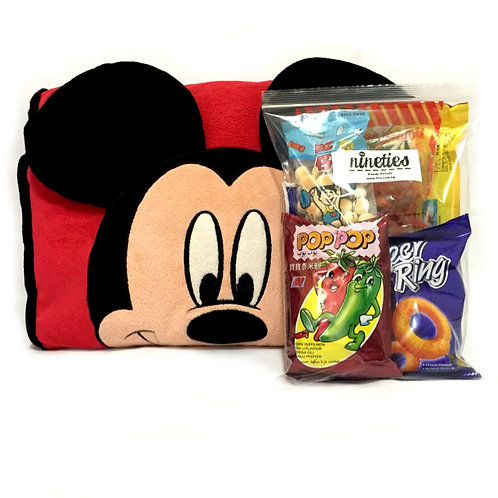 Mickey Cushion with Retro Goodies Hamper