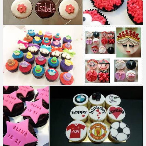30pcs Cupcakes - Fondant Customized Designs
