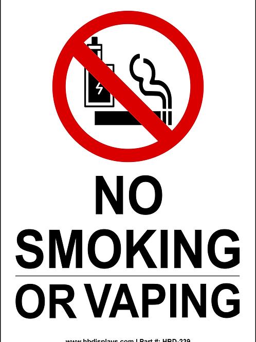 No Smoking or Vaping Sign