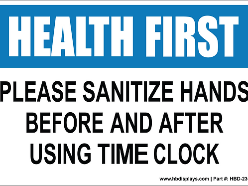 Please Sanitize hands sign