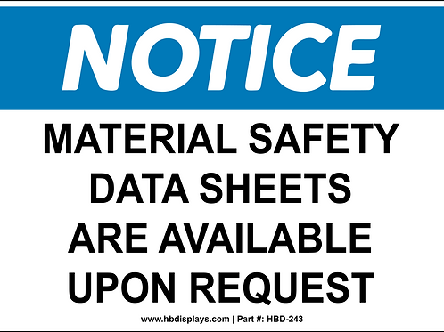 Material Safety Data Sheet Notice