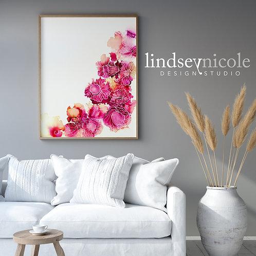 Pink Floral   Alcohol Ink   ORIGINAL
