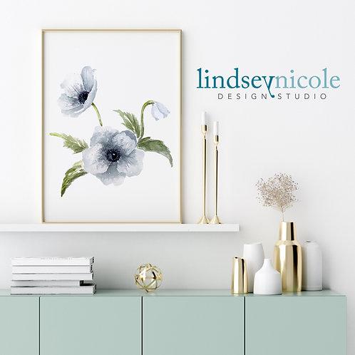 White Anemone   Watercolor   PRINT & ORIGINAL