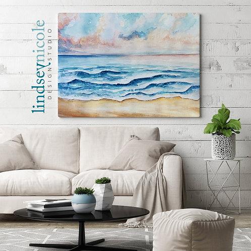 Coastal Sunset Watercolor   ORIGINAL