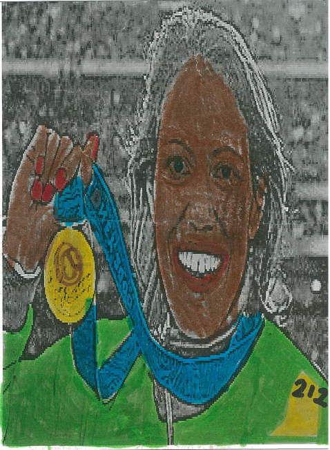 Cathy Freeman picture coloured by MCPS student, Wurrumiyanga
