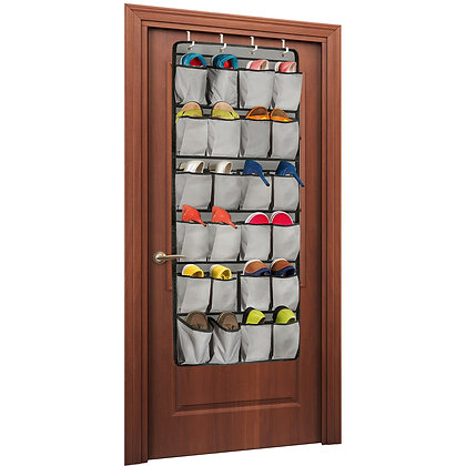 Unjumbly Over the Door Shoe Organizer, 24 Large Pocket Shoe Rack Over the Door