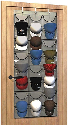 Baseball Hat Rack , 24 Pocket Over-The-Door Cap Organizer