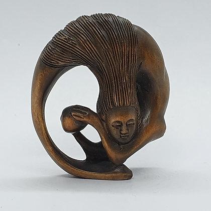 Boxwood netsuke - Mermaid