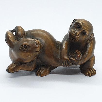 Boxwood netsuke - Rabbit and Monkey