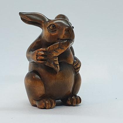 Boxwood netsuke -Large Rabbit