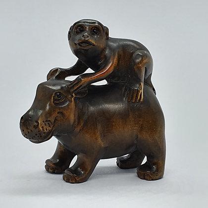 Boxwood netsuke - Hippo and Monkey