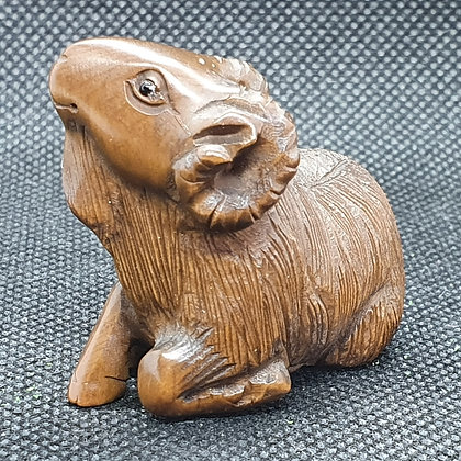 Boxwood netsuke - mountain goat