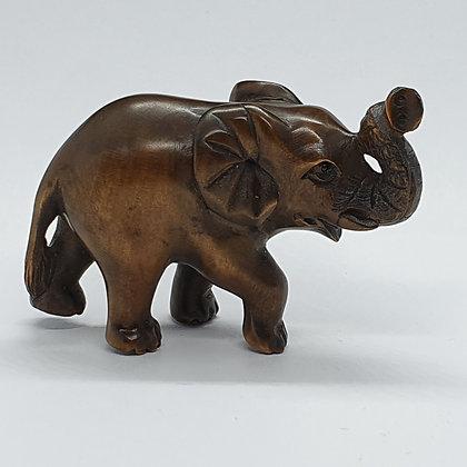 Boxwood netsuke - Trumpeting Elephant
