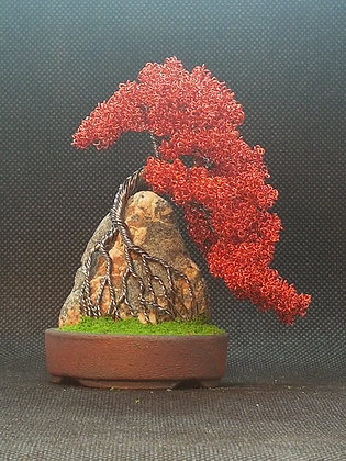 Gunmetal copper and red copper on rock 10cm
