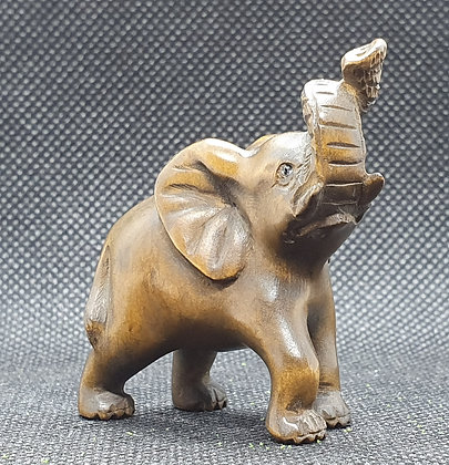 Boxwood netsuke - Trumpeting Elephant
