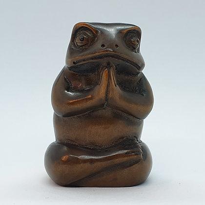 Boxwood netsuke - Meditating Toad