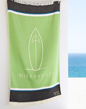 Surfing Shark Pistachio Sustainable Beach Towel