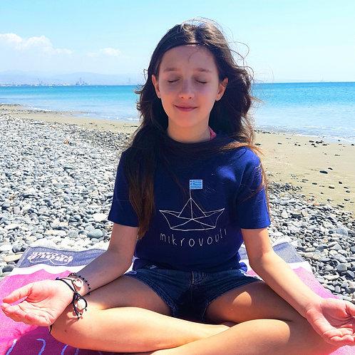 mikrovouti Blue T-shirt, Greek Clean Cotton.