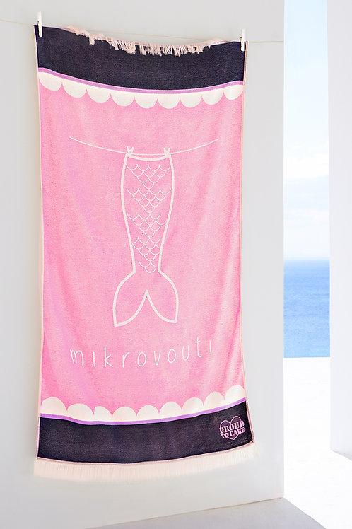 Sally ροζ πετσέτα παραλίας, από αναγεννημένο βαμβάκι