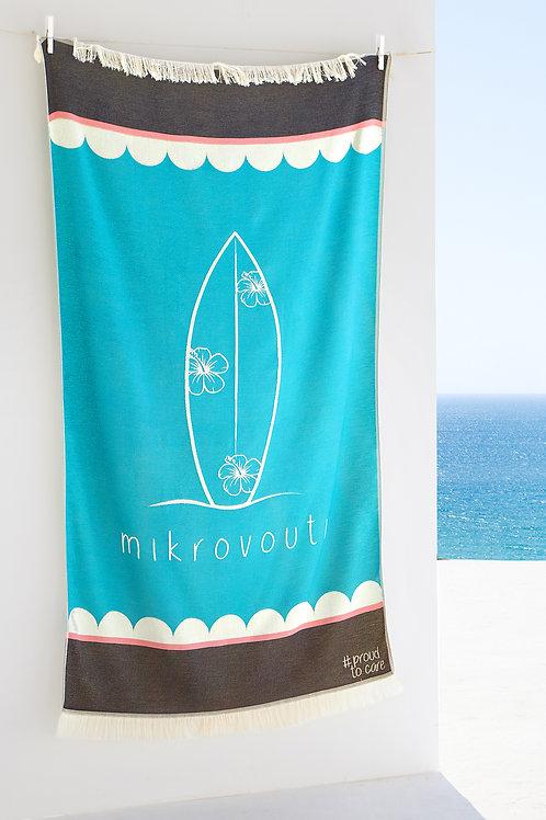 Surfing Hibi Turquoise Sustainable Beach Towel