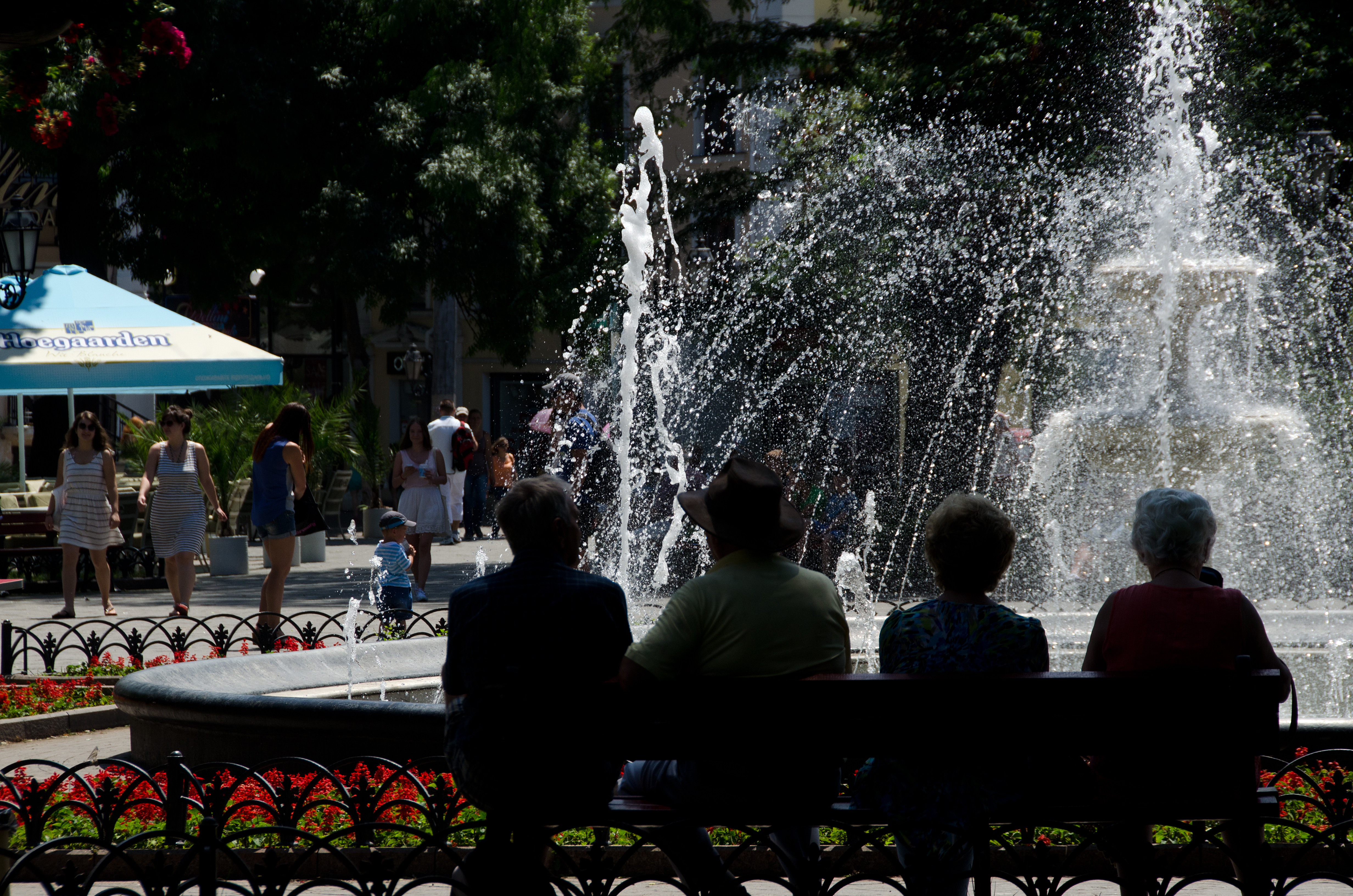 Odessa - seated at the fountain
