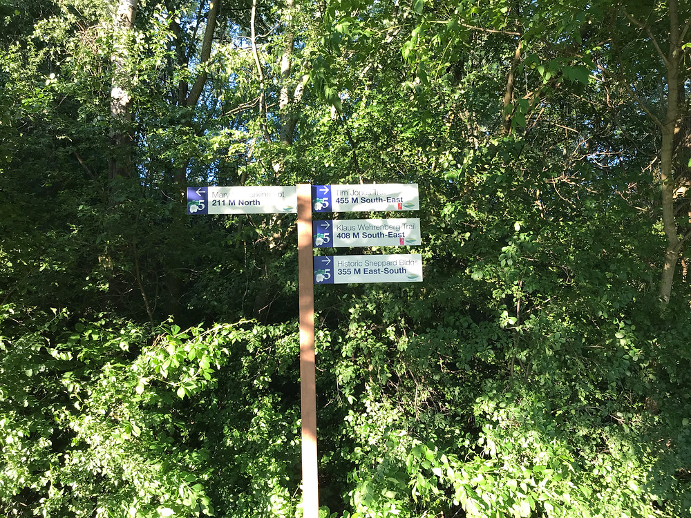 powder-coated graphics on aluminum sign in purple and white on forest trail