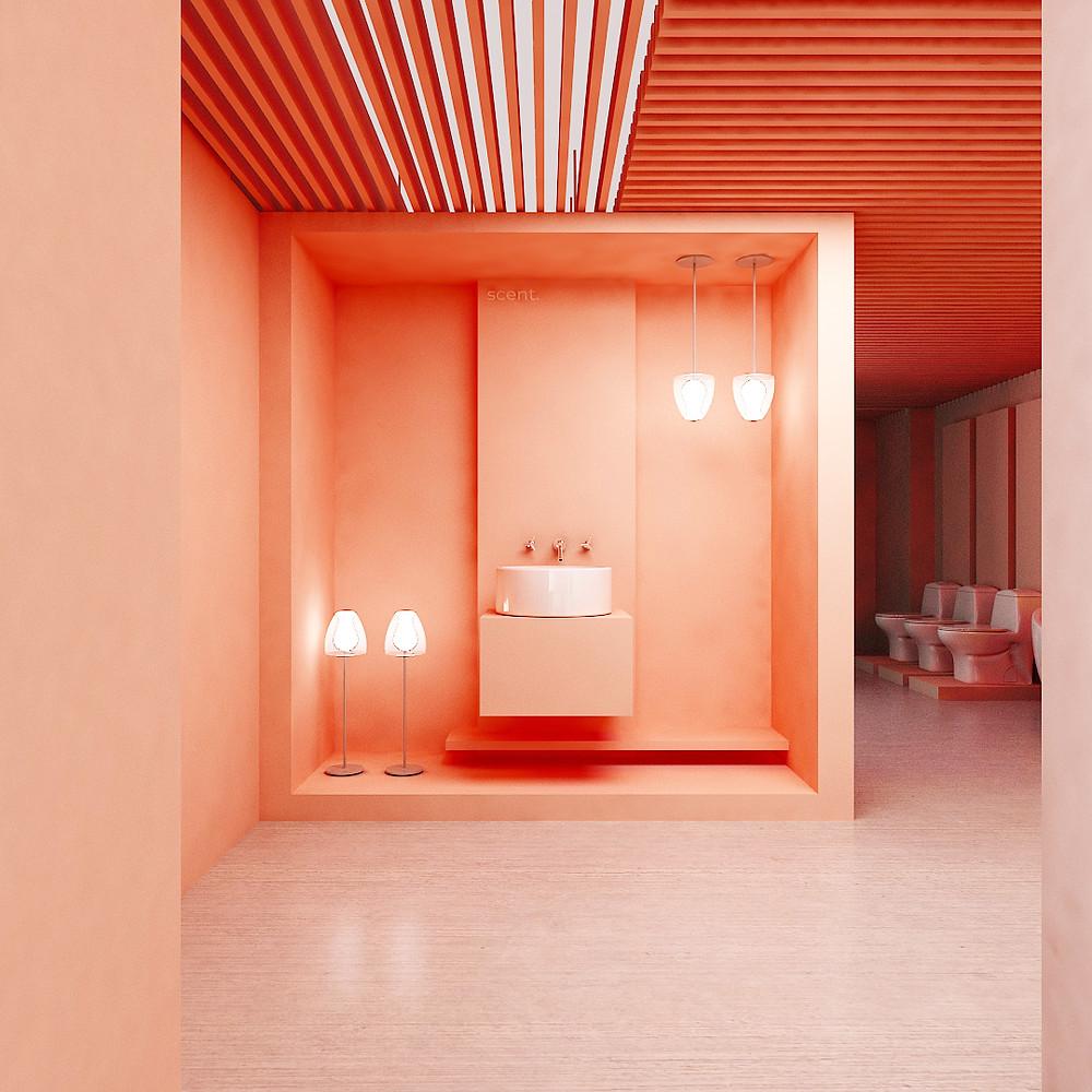 Immersive decorative plumbing showroom vignette in millennial pink or coral.