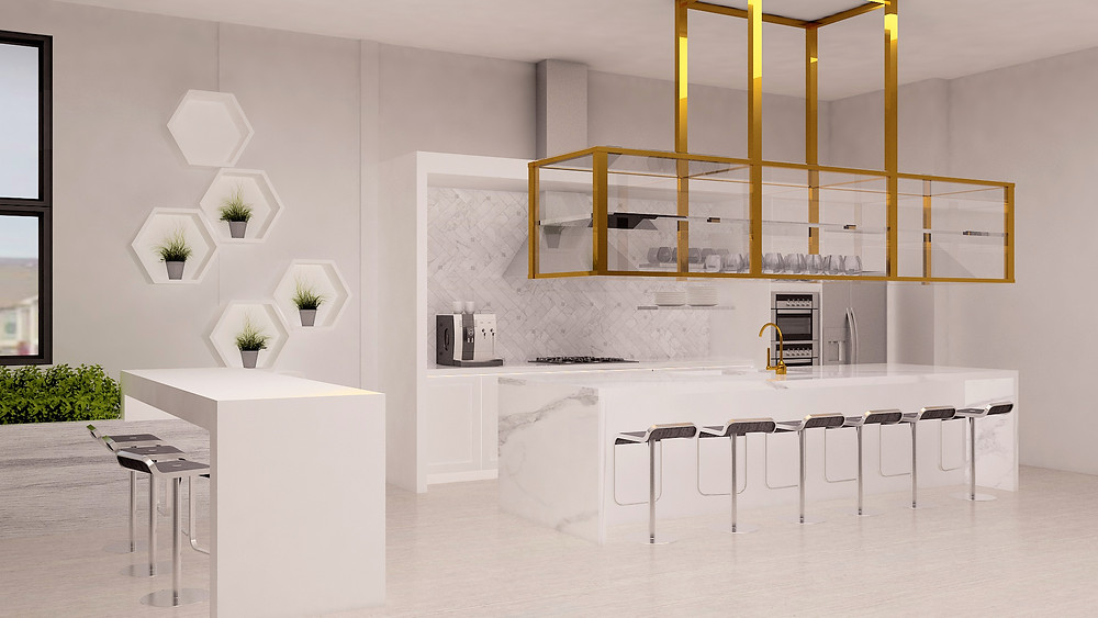 Kitchen design vignette with coffee station and seating.