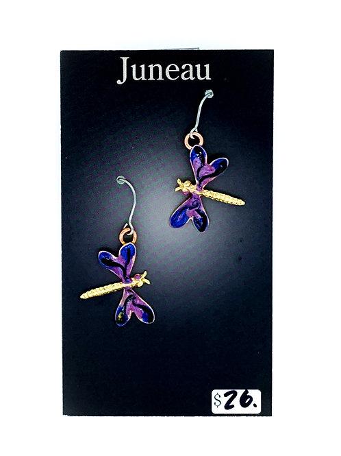 Small Enameled Dragonfly Earrings