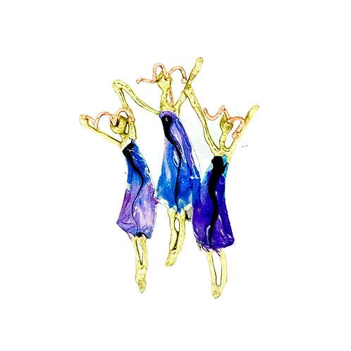 3 Girl Pin - More Blue