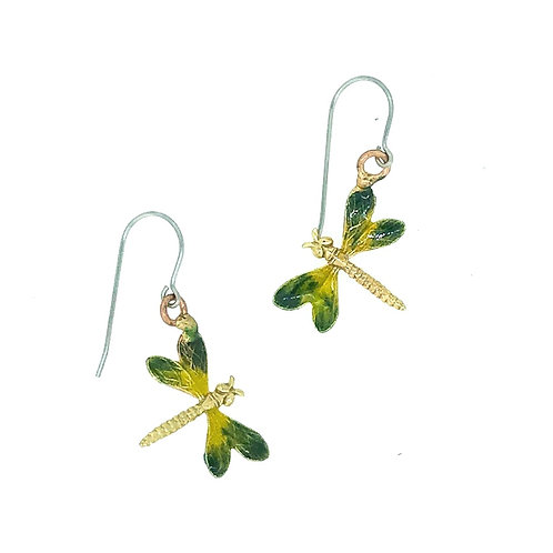 Green and Yellow Dragonfly Earrings