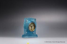 TOYO CLOX 薄青摺りガラス 四方花飾り