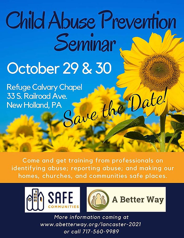 Save the Date! Child Abuse Prevention Seminar, October 29 and 30