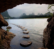 Stepping stones in the Li River of China on an M&M Photo Tour.