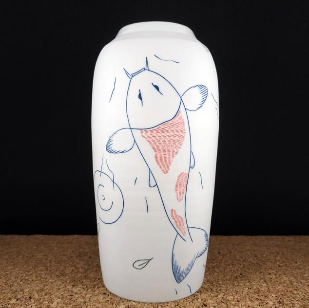 Vase bouteille Carpes Koï