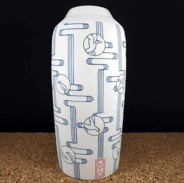 Vase bouteille Grues